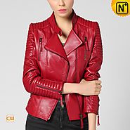 CWMALLS® Women's Red Leather Jacket CW650057