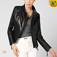 CWMALLS® Black Leather Motorcycle Jacket CW650029