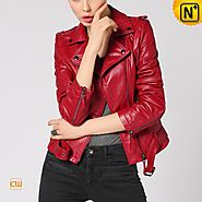 CWMALLS® Women's red Leather Moto Jacket CW650032