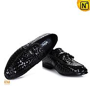 Mens Woven Leather Shoes CW750067- cwmalls.com