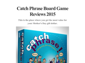 Catch Phrase Board Game Reviews 2015