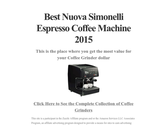 Best Nuova Simonelli Espresso Coffee Machine 2015