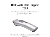 Best Wella Hair Clippers 2015