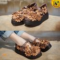 Womens Handmade Floral Leather Wedges Shoes CW305156