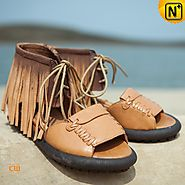 Tan Leather Fringe Sandals CW305223 - cwmalls.com