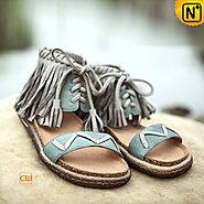 Leather Flat Sandals CW305228 - cwmalls.com