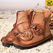 Leather Ankle Boots Tan CW350153 - cwmalls.com