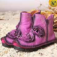 Purple Flat Ankle Boots CW350152 - cwmalls.com