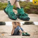 Womens Handcrafted Leather Flat Ankle Booties Green CW305020