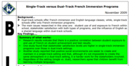 Single-Track versus Dual-Track French Immersion Programs
