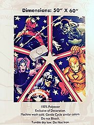 "Marvel Plush Throw Blanket 50"" X 60"" Spider-man Hulk Thor Iron Man Captain America"