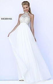 2015 Sherri Hill 5204 Halter-Neck Ivory Beaded Long Bodice Prom Dresses