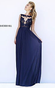 2015 Sherri Hill 5207 Bateau-Neck Cutout Navy Lace Long Bodice Prom Dresses