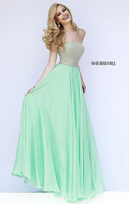 2015 Beaded Strapless-Neck Sherri Hill 8551 Seafoam Long Bodice Evening Gown