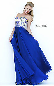 2015 Beaded Sherri Hill 1947 Navy Sweetheart-Neck Long Bodice Prom Dresses