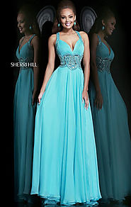 Aqua Beaded 2015 Sweetheart-Neck Sherri Hill 11102 Long Chiffon Evening Gown