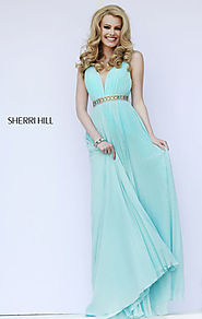 2015 V-Neck Sherri Hill 11222 Beaded Aqua Bodice Long Pleated Prom Dresses