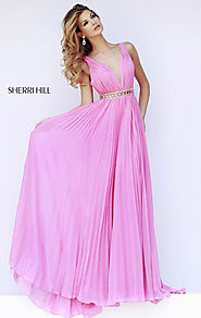 2015 Sherri Hill 11222 Beaded V-Neck Pink Pleated Long Bodice Prom Dresses