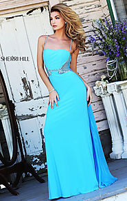 Sherri Hill 8558 Beaded Slim Straps 2015 Turquoise Sheer Long Bodice Prom Dresses