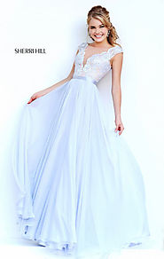 Sherri Hill 11269 Lace Applique Long Bodice Prom Dresses Beaded Silver 2015 [Sherri Hill 11269 Silver] - $172.00 : 20...