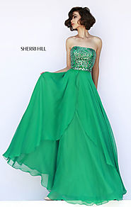 Sherri Hill 1941 Beaded Emerald Straight-Neck Long Bodice Evening Gown 2015 [Sherri Hill 1941 Emerald] - $216.00 : 20...
