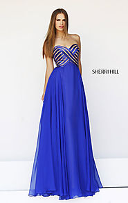 2015 Sherri Hill 11074 Bodice Sweetheart-Neck Royal/Nude Crisscross Long Prom Dresses [Sherri Hill 11074 Royal/Nude] ...