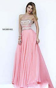 2015 Straight-Neck Melon/Multi Beaded Sherri Hill 11175 Long Chiffon Prom Dresses