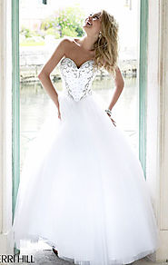 2015 Ivory/Silver Sweetheart-Neck Sherri Hill 32078 Beaded Bodice Long Prom Dresses