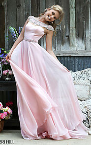 2015 Blush Beaded Sherri Hill 32220 Bateau-Neck Bodice Long Sheer Prom Dresses