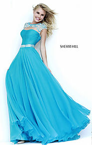 Cap-Sleeves 2015 Blue/Silver Sherri Hill 11181 Beaded Long Bodice Prom Dresses [Sherri Hill 11181 Blue/Silver] - $208...