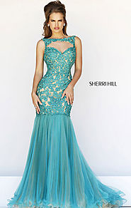 Sherri Hill 21305 Jewel-Neck 2015 Emerald/Nude Beaded Long Bodice Prom Dresses