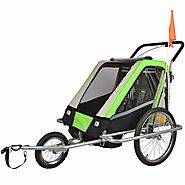 Suspension Children Bicycle Trailer & Jogger Combo Green 50304