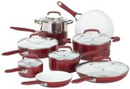 WearEver C943SF Pure Living Nonstick Ceramic Coating Cookware Set, 15 Piece, Red