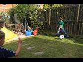 Playing with a soccer ball pinata