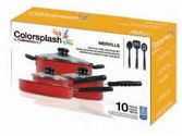 Gibson Colorsplash Merville 10-Piece Cookware Set, Red