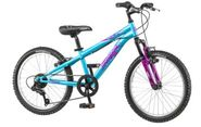 "20"" Mongoose Girls BMX / Mountain Bike Hybrid With Aluminum Frame and Suspension, in Blue and Purple"