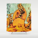 Octopus Shower Curtain by RICHMOND ART STUDIO