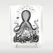 Awesome Black and White Octopus Shower Curtain styles