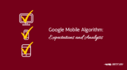 Google Mobile Algorithm: Expectations and Analysis