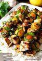 Lemon-Glazed Swordfish Skewers Over Rice