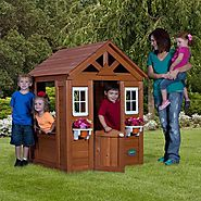 Wooden Playhouse Timberlake Cedar cute half-door w/ Play accessories - Best-Rated Children's Wooden Outdoor Playhouse...