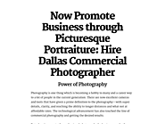 Now Promote Business through Picturesque Portraiture: Hire Dallas Commercial Photographer