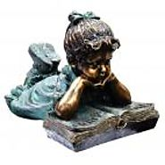 "16"" Tall Girl Laying Down Reading Book Statue"