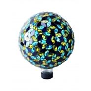 "10"" Mosaic Glass Gazing Globe Blue/Yellow at Garden and Pond Depot"