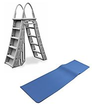 "Heavy Duty A Frame Aboveground Swimming Pool Ladder 48""-56"" w/ Protective Mat"