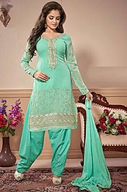 Adaa Aqua Heavy Georgette suit with emb with sifli emb bottom