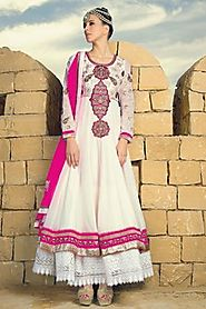 Gleaming Cream & Off White Salwar Kameez
