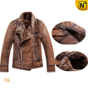 Brown Shearling Jacket uk CW819056 - cwmalls.com