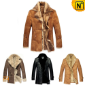 Mens Leather Shearling Coat CW138270 - cwmalls.com