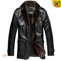 Black Sheepskin Coat for Men CW833337 - cwmalls.com
